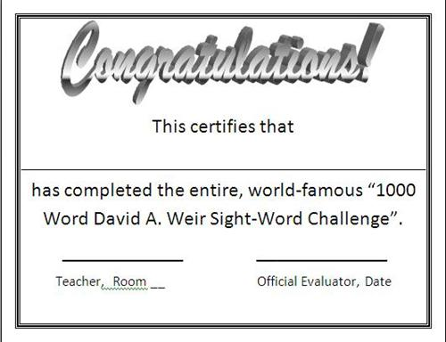 1000 Word ChallengeSight Words Frys Sight Words – Word Certificate