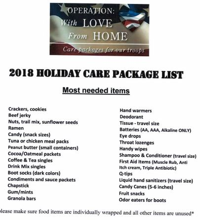 Holiday Care Package for our Troops