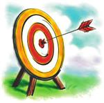 Target with arrow hitting the bullseye