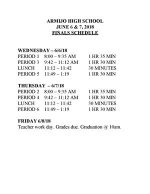AHS June Finals Schedule