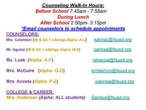 Counseling Walk-In Hours