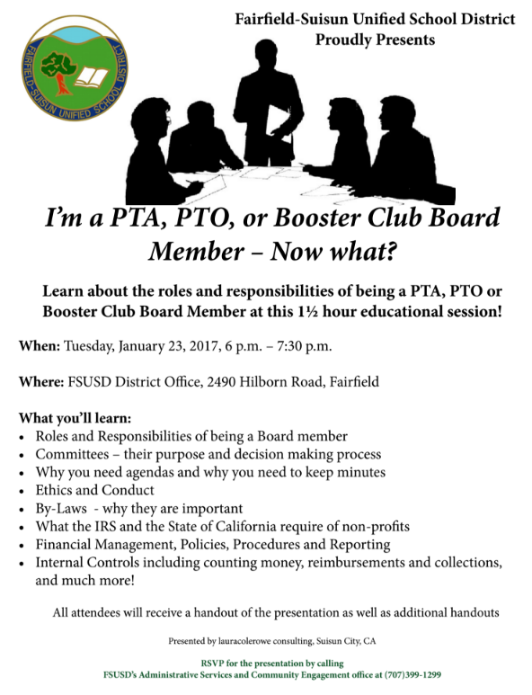 I'm a PTA, PTO, or Booster Club Board Member - Now what? Flyer